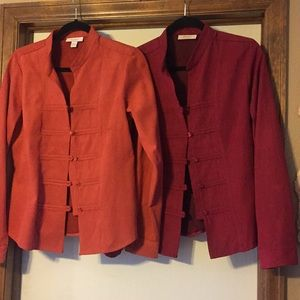 Dress Barn set of 2 faux suede shirts, L